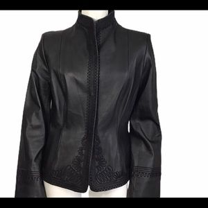 Anne Klein 100% Soft Leather Embroidered Jacket 8